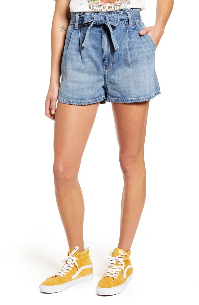 STS BLUE Paperbag Waist Pleated Denim Shorts, Main, color, HIGHWOOD