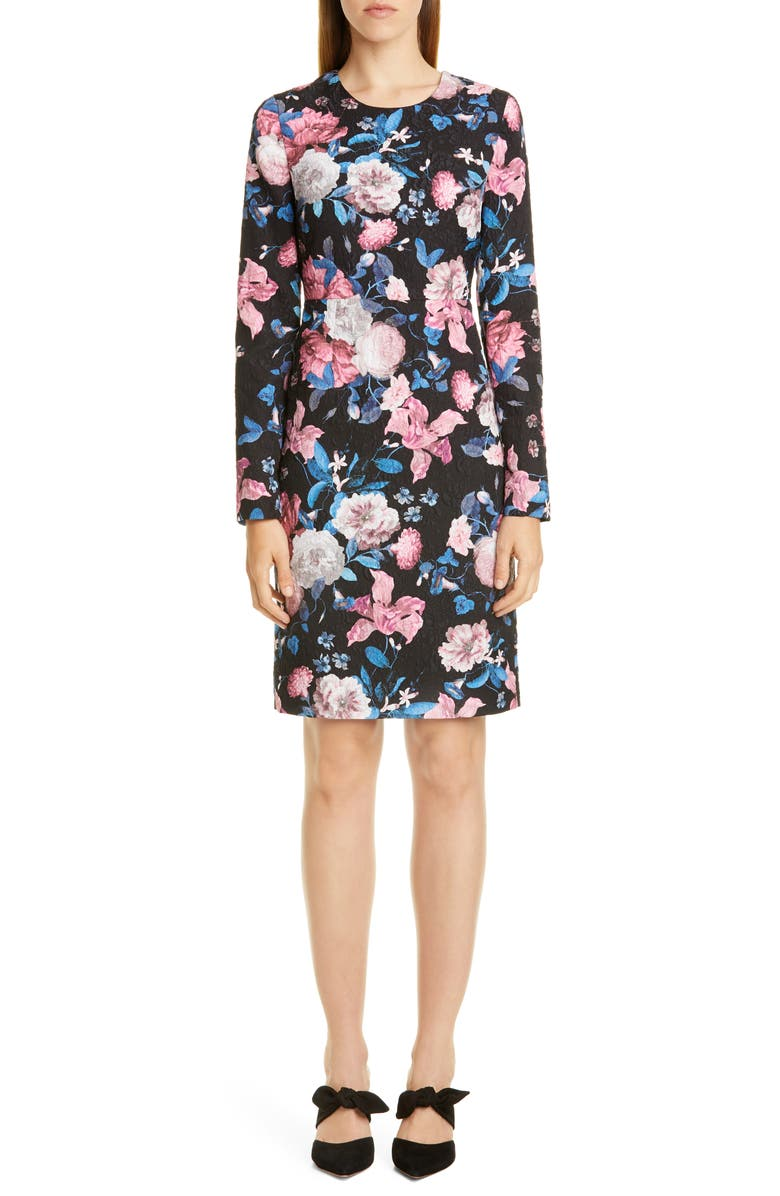 ERDEM Floral Matelassé Long Sleeve Sheath Dress, Main, color, BLACK / PINK