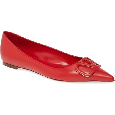 Valentino Garavani Vlogo Ballerina Flat - Red