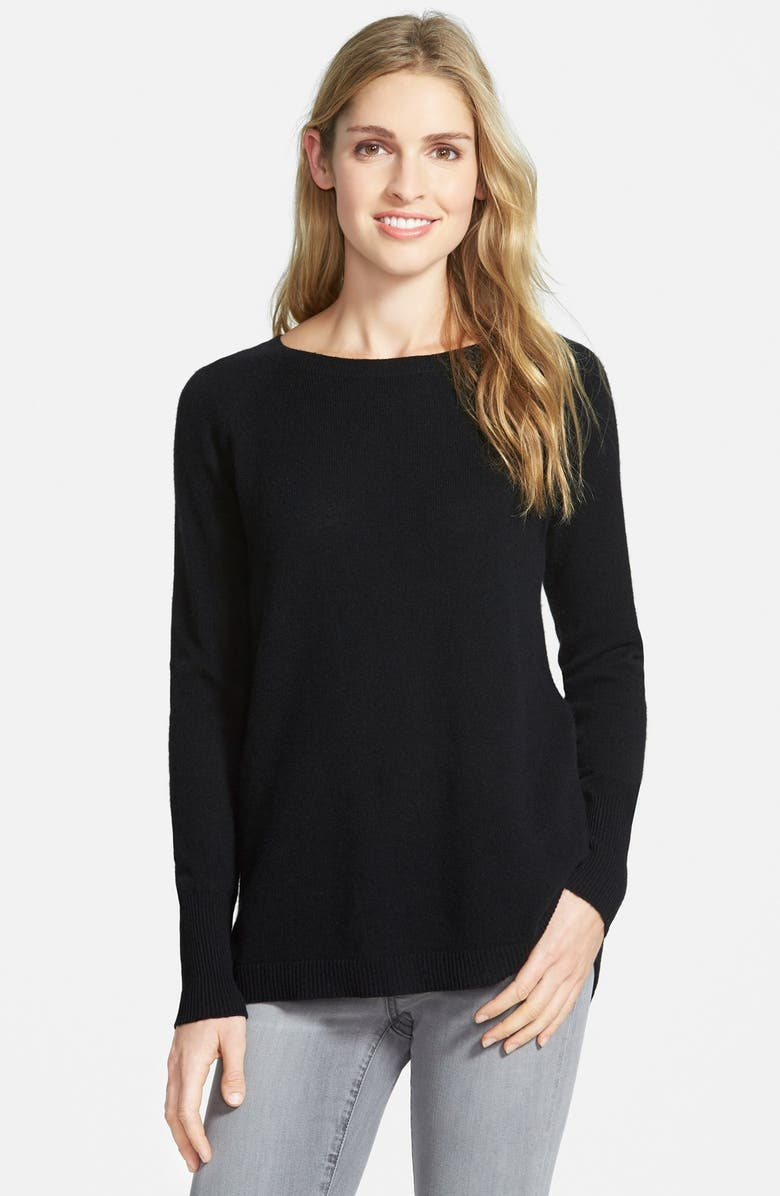HALOGEN<SUP>®</SUP> Zip Back Cashmere Sweater, Main, color, 001
