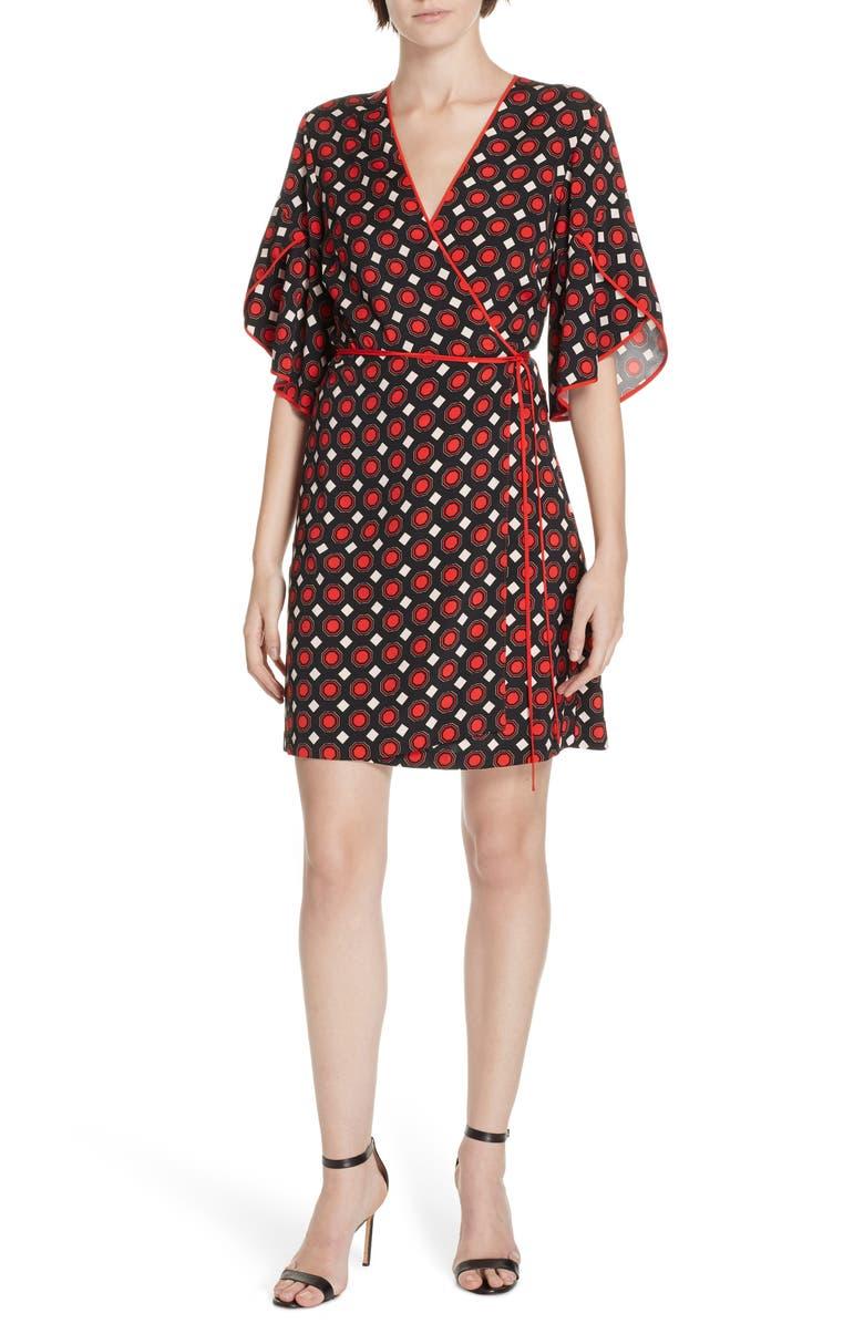 DVF Cinnamon Tulip Sleeve Wrap Dress, Main, color, 930