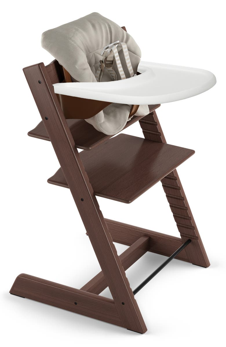 STOKKE Tripp Trapp<sup>®</sup> Chair, Baby Set, Cushion & Tray Set, Main, color, WALNUT/ TIMELESS GREY