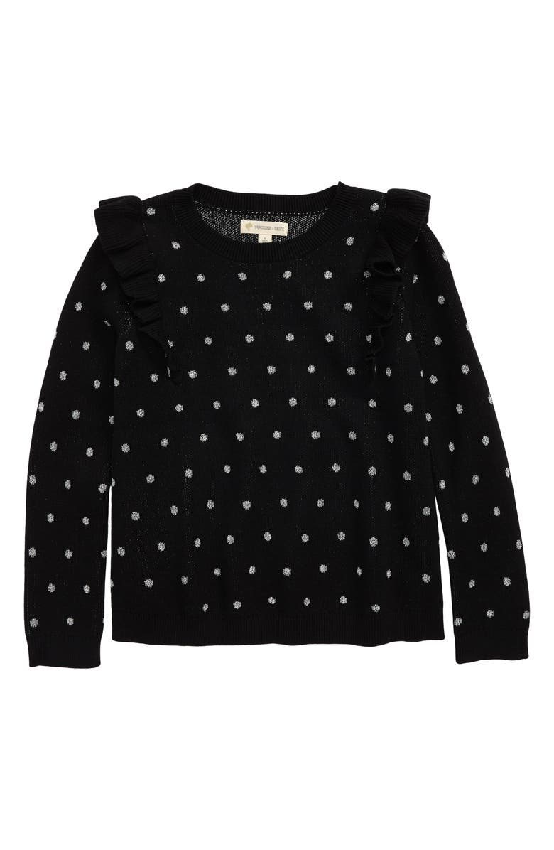 TUCKER + TATE Ruffle Polka Dot Sweater, Main, color, BLACK SPARKLE DOT