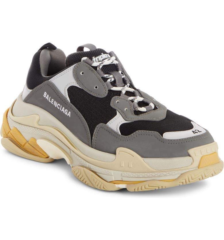 BALENCIAGA Triple S Retro Sneaker, Main, color, GREY/ YELLOW
