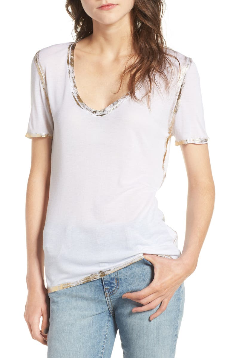 ZADIG & VOLTAIRE Tino Foil Tee, Main, color, BLANC