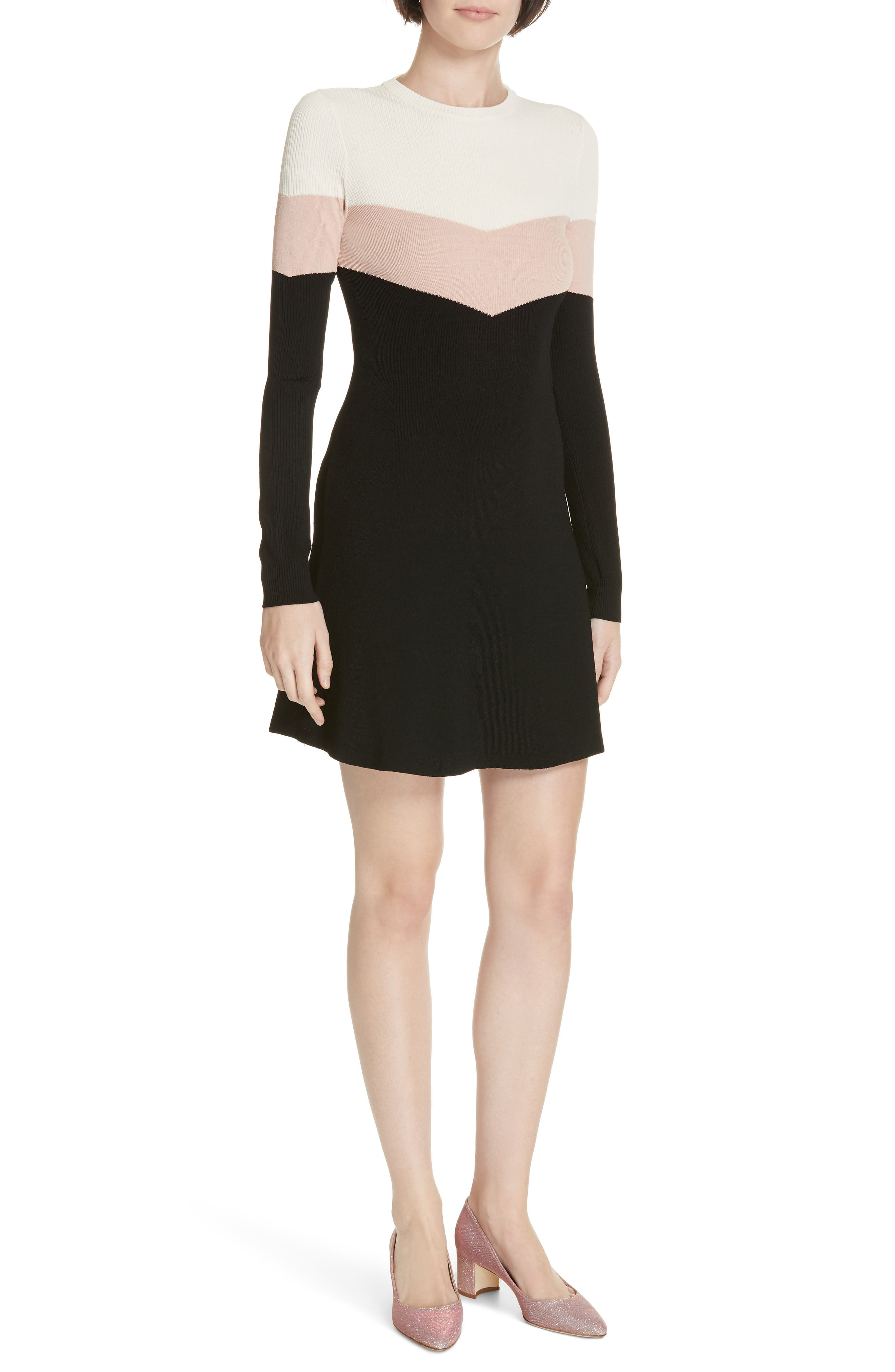 Red Valentino Colorblock Ribbed Fit & Flare Dress, Black