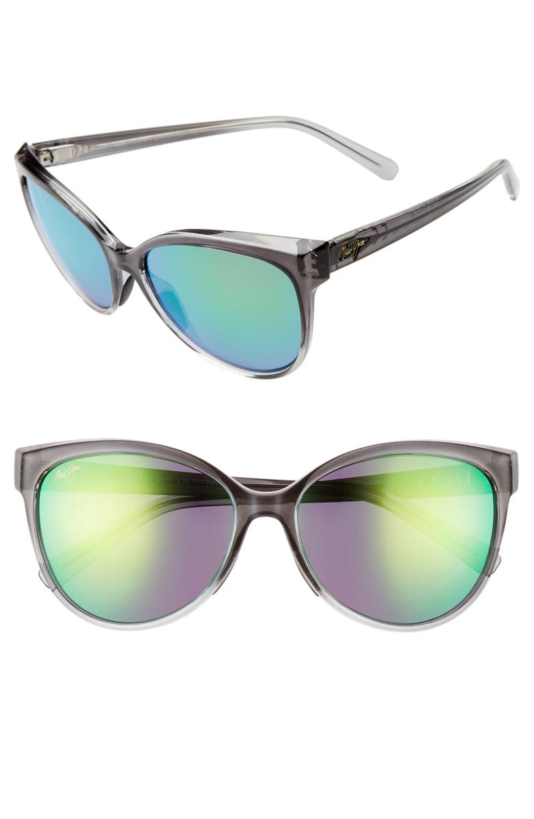 MAUI JIM 'Olu 'Olu 57mm PolarizedPlus2<sup>®</sup> Cat Eye Sunglasses, Main, color, GREY FADE/ MAUI GREEN