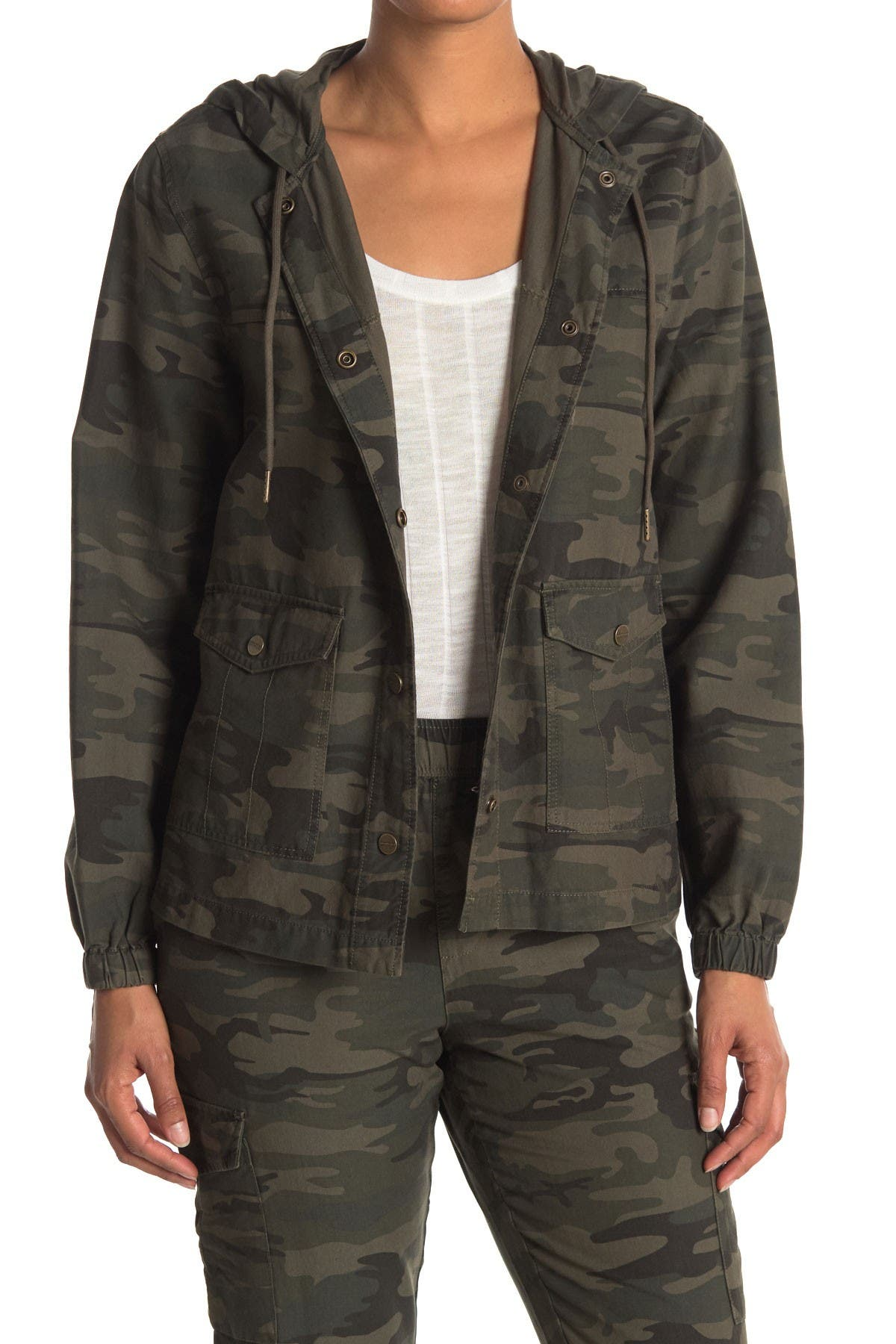 Image of Sanctuary Camo Print Hooded Utility Jacket
