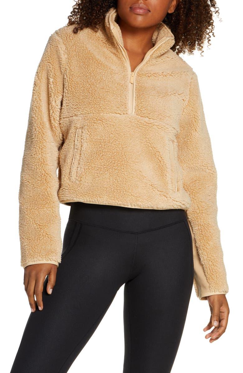 ALO Shanti Half Zip Faux Shearling Pullover, Main, color, CAMEL