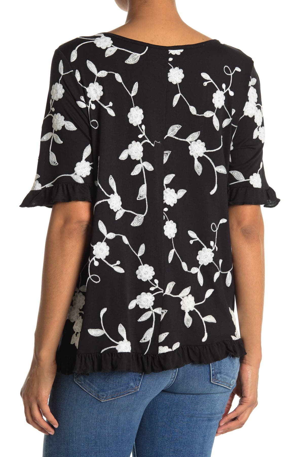 Image of Forgotten Grace Elbow Sleeve Embroidered Ruffle Tee Shirt