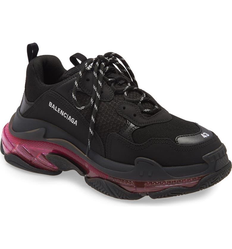 BALENCIAGA Triple-S Air Retro Sneaker, Main, color, BLACK/ PINK NEON