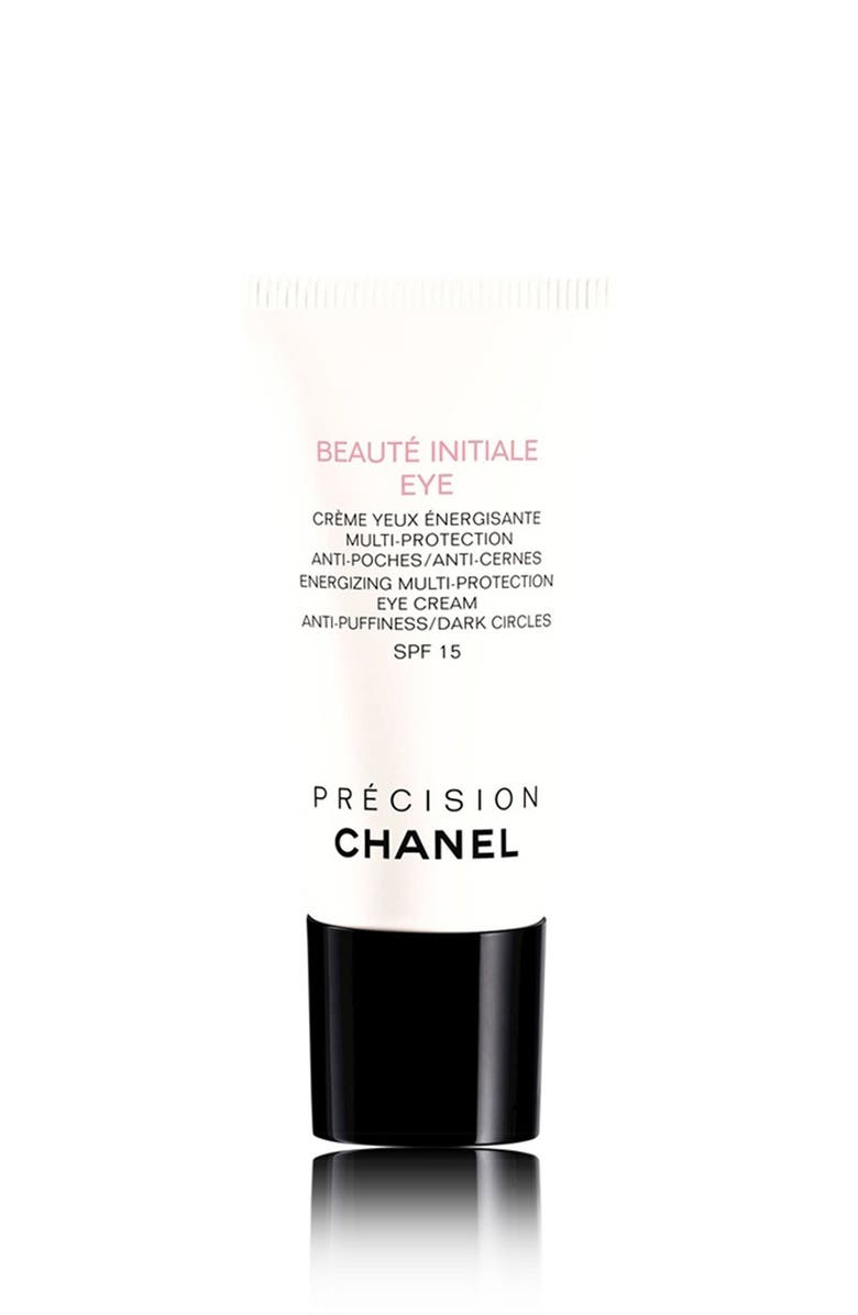 CHANEL BEAUTÉ INITIALE EYE <br />Energizing Multi-Protection Eye Cream Anti-Puffiness / Dark Circles, Main, color, 000