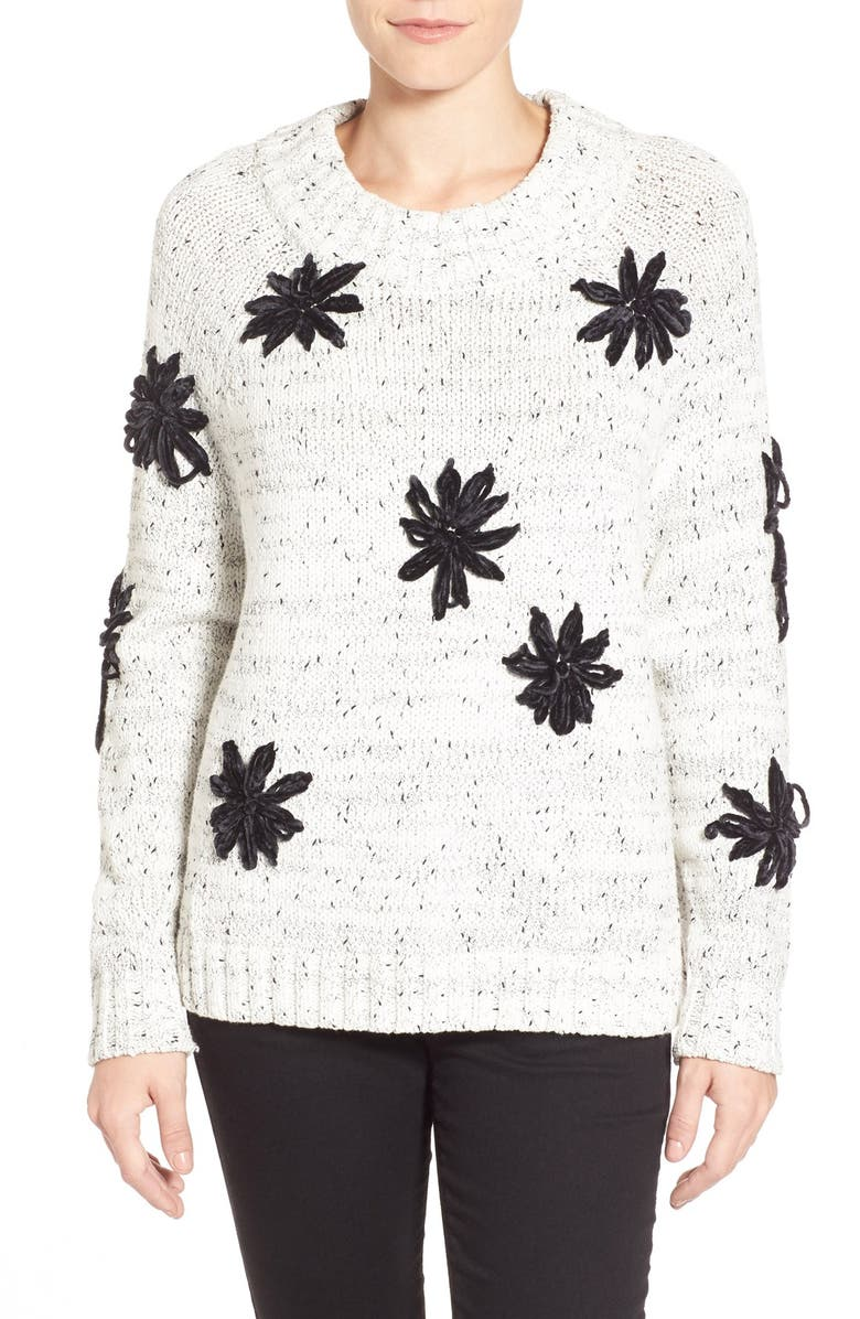 VINCE CAMUTO Chenille Embroidered Mock Neck Sweater, Main, color, 108