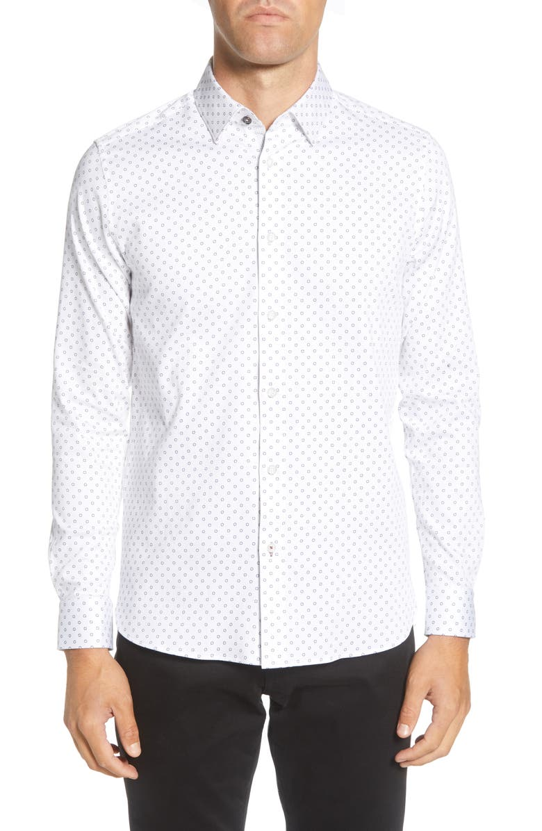 TED BAKER LONDON Slim Fit Diamond Print Button-Up Shirt, Main, color, WHITE