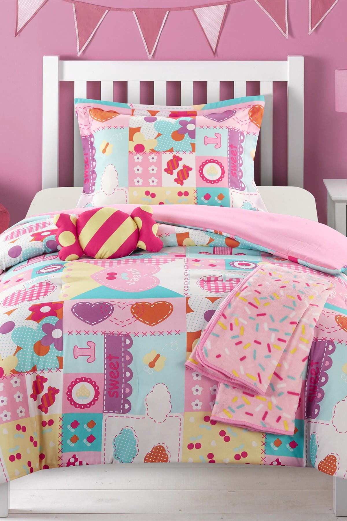 """Image of Chic Home Bedding Twin Clark Patchwork """"Life is Sweet"""" Candy Theme Design Comforter Set - Pink"""