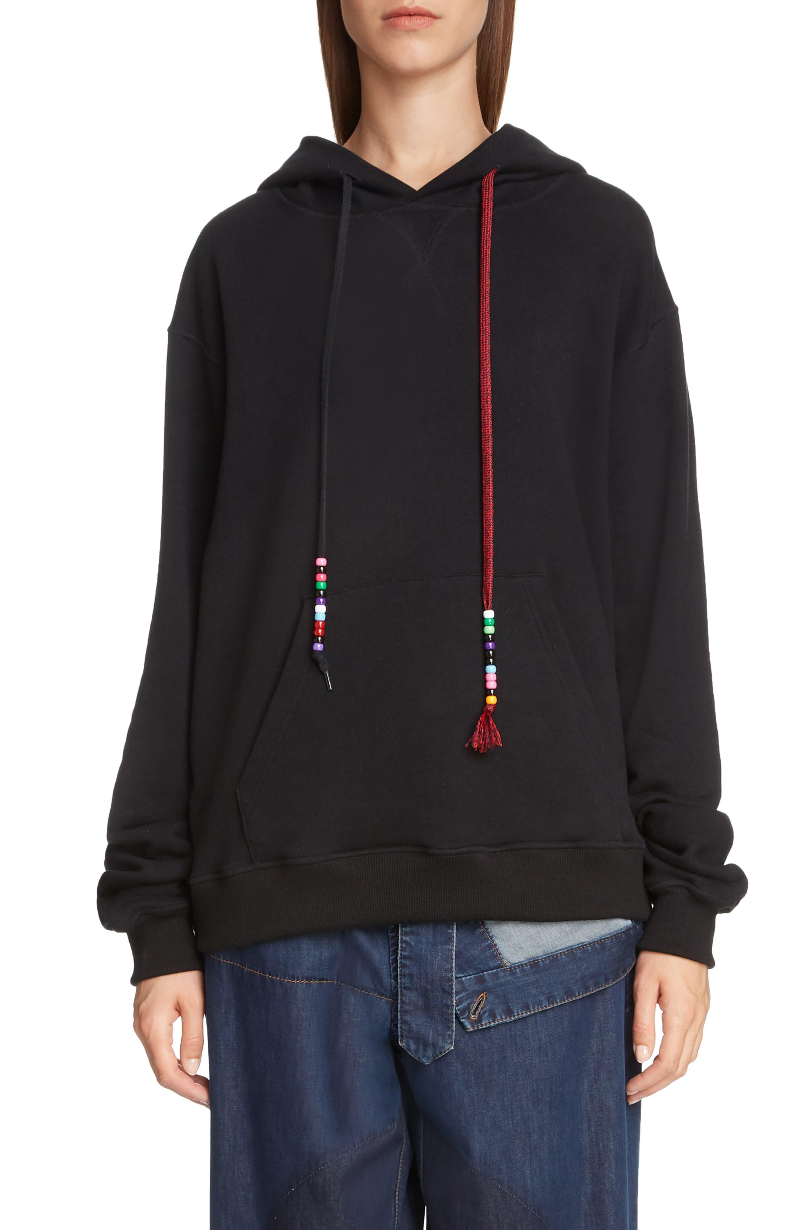 Beaded Drawstring Hoodie, Main, color, BLACK