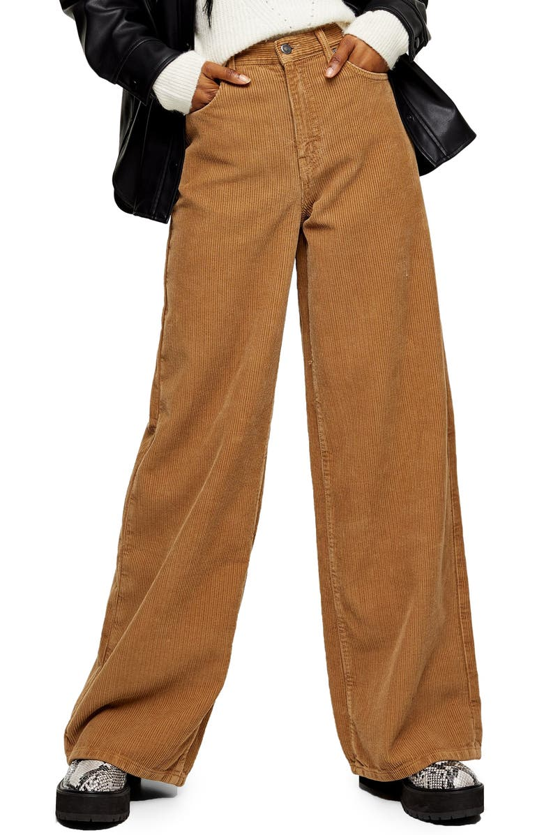 TOPSHOP Ted Corduroy Wide Leg Pants, Main, color, BROWN