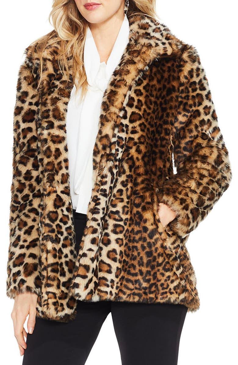 VINCE CAMUTO Leopard Print Faux Fur Jacket, Main, color, 208