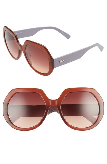 Longchamp Sunglasses 55MM GRADIENT GEOMETRIC SUNGLASSES - BROWN/ ORANGE LILAC