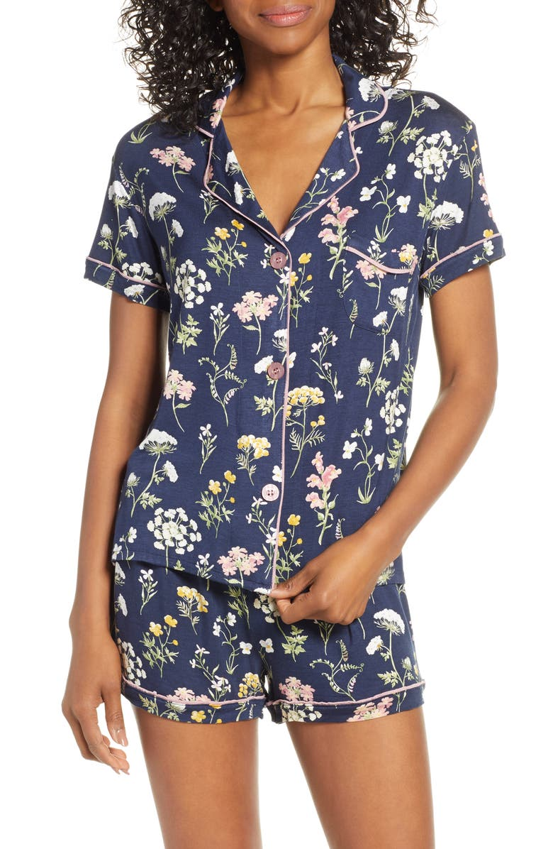 PJ SALVAGE Dreams Bloom Short Pajamas, Main, color, MIDNIGHT BLUE