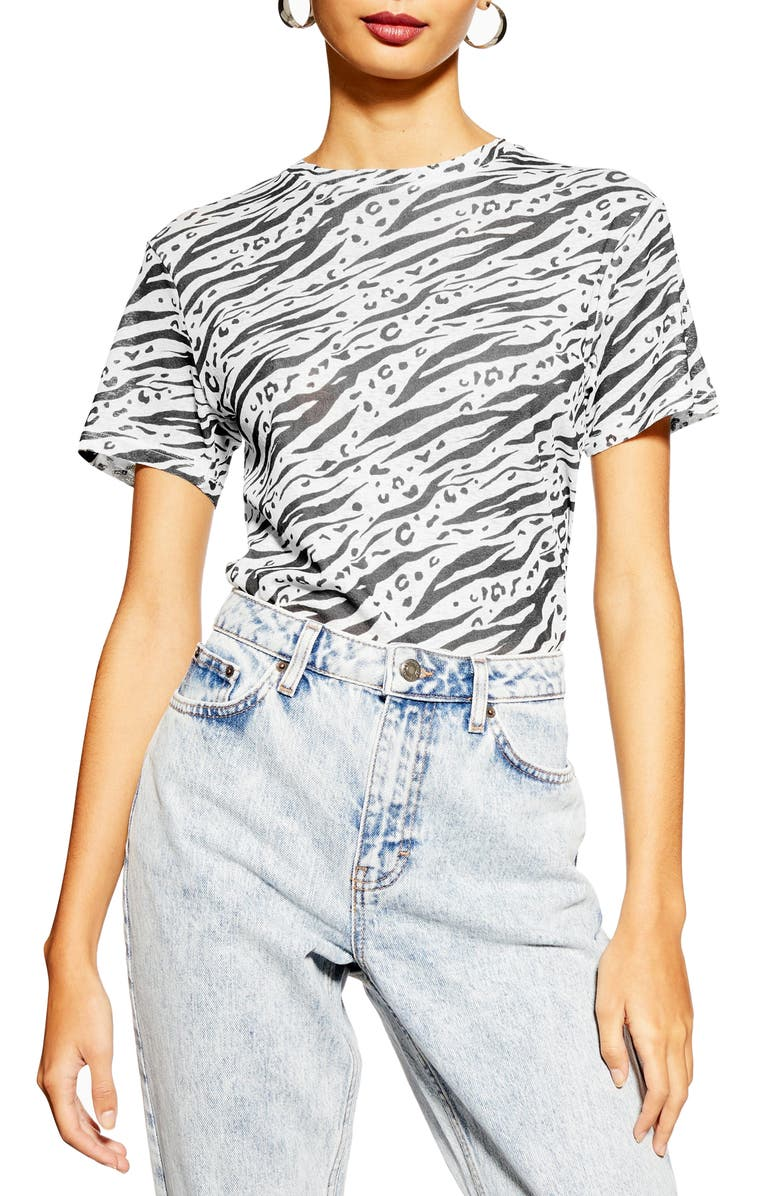 TOPSHOP Printed Tee, Main, color, 002