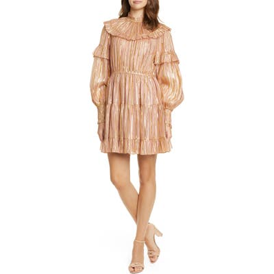 Ulla Johnson Averil Metallic Stripe Long Sleeve Minidress, Pink