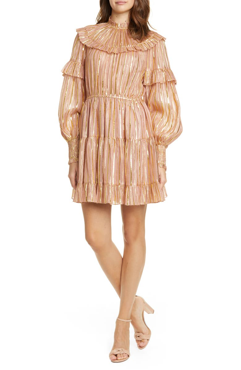 ULLA JOHNSON Averil Metallic Stripe Long Sleeve Minidress, Main, color, ROSE