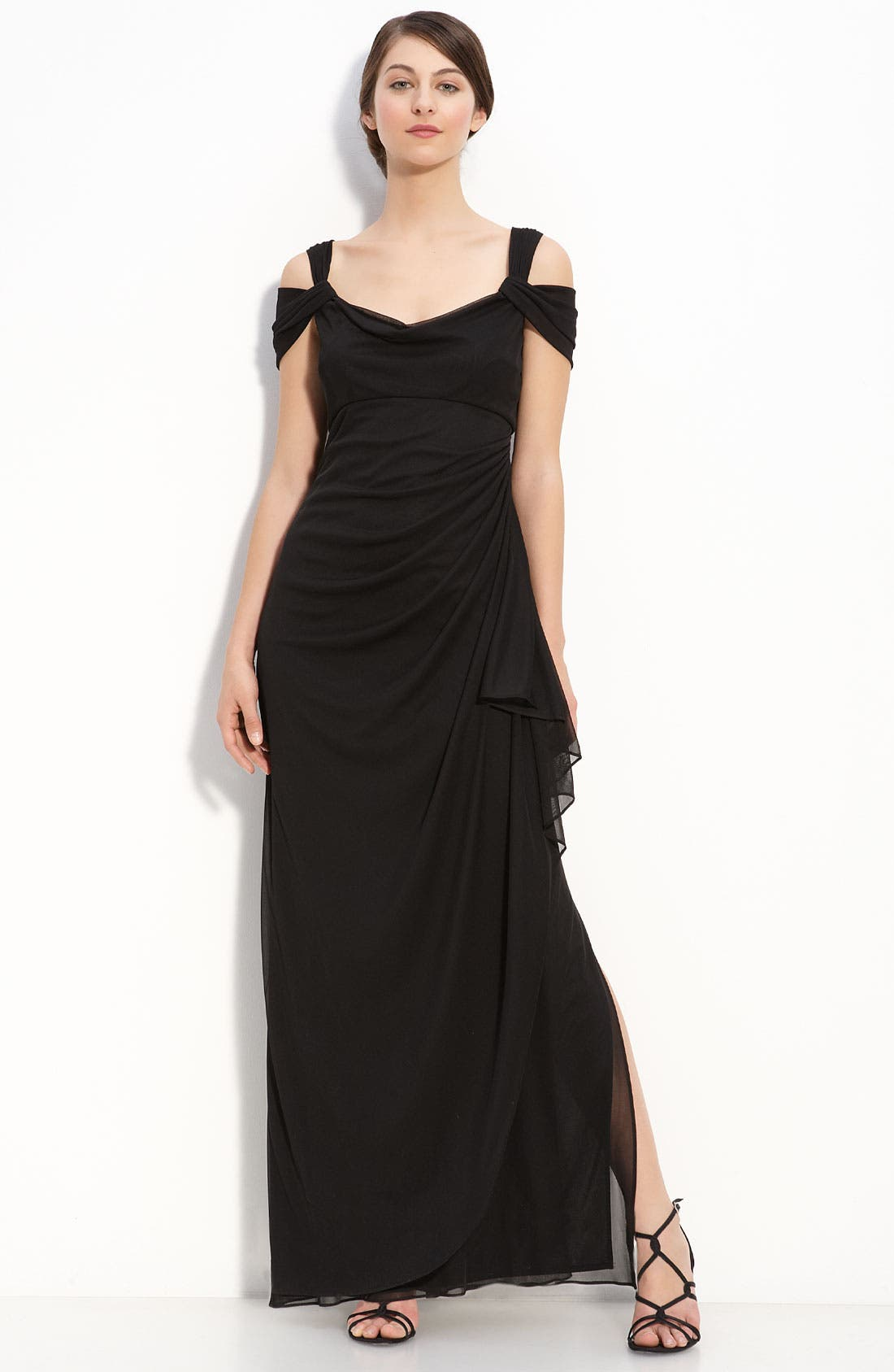 Petite Alex Evenings Double Strap Mesh Gown, Black