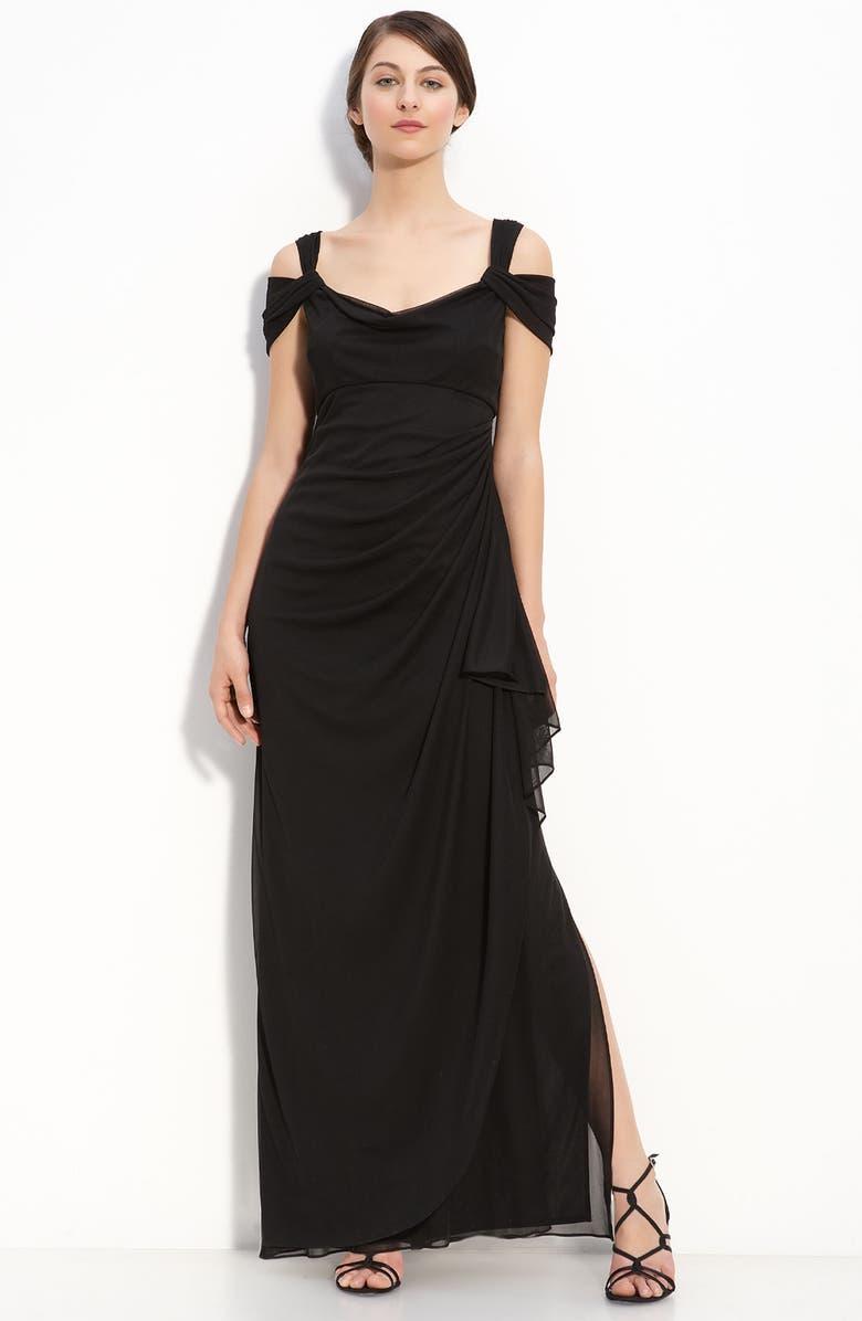 ALEX EVENINGS Cold Shoulder Ruffle Gown, Main, color, BLACK