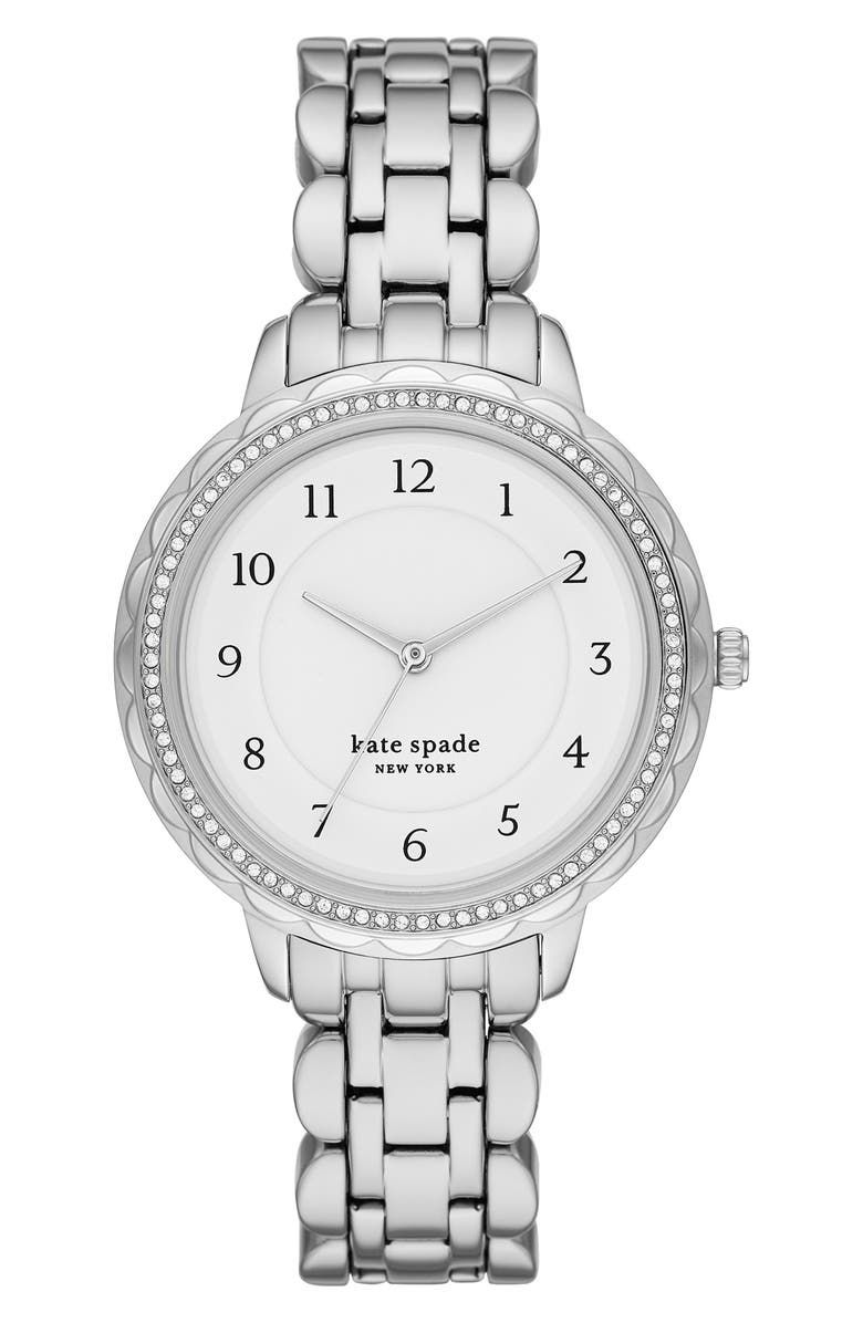 KATE SPADE NEW YORK morningside bracelet watch, 38mm, Main, color, SILVER/ WHITE/ SILVER
