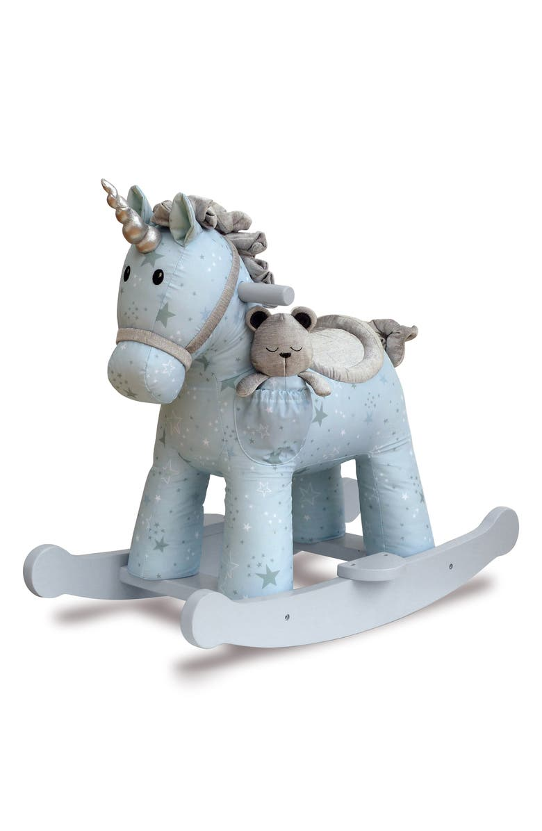 LITTLE BIRD TOLD ME Moonbeam & Rae Rocking Horse & Stuffed Animal, Main, color, BLUE