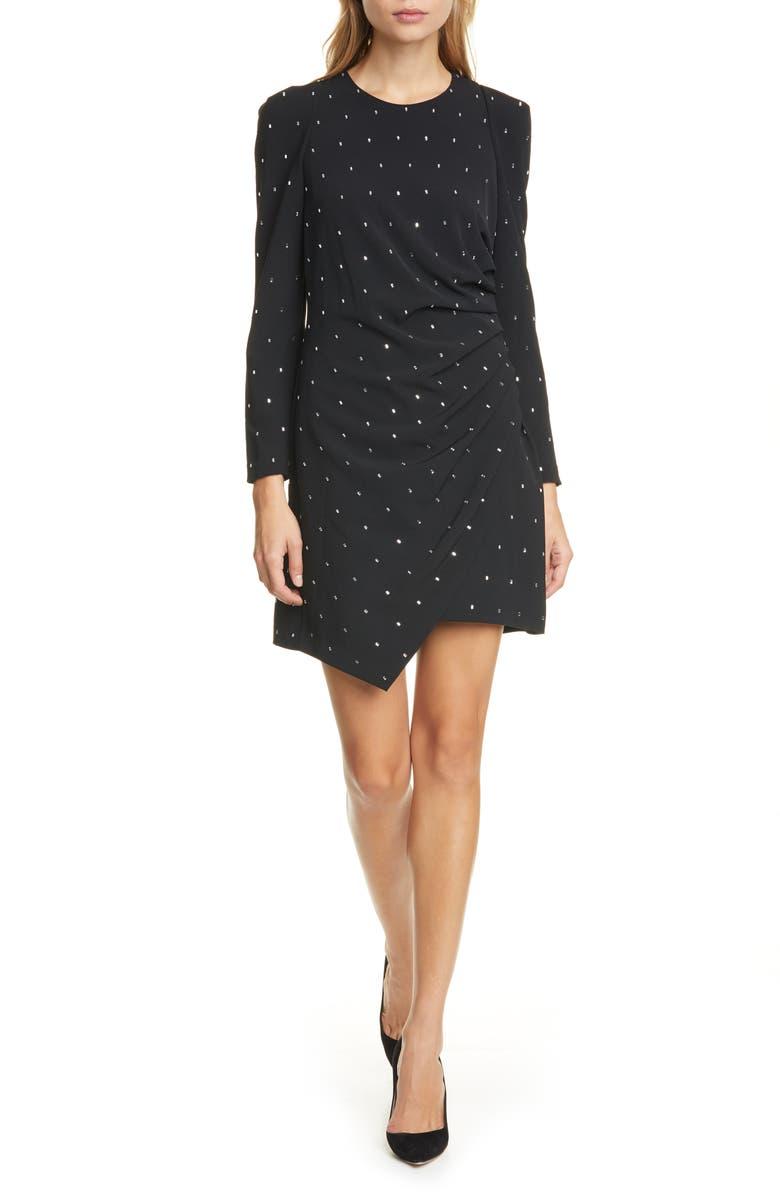 A.L.C. Lana Crystal Long Sleeve Cocktail Dress, Main, color, BLACK