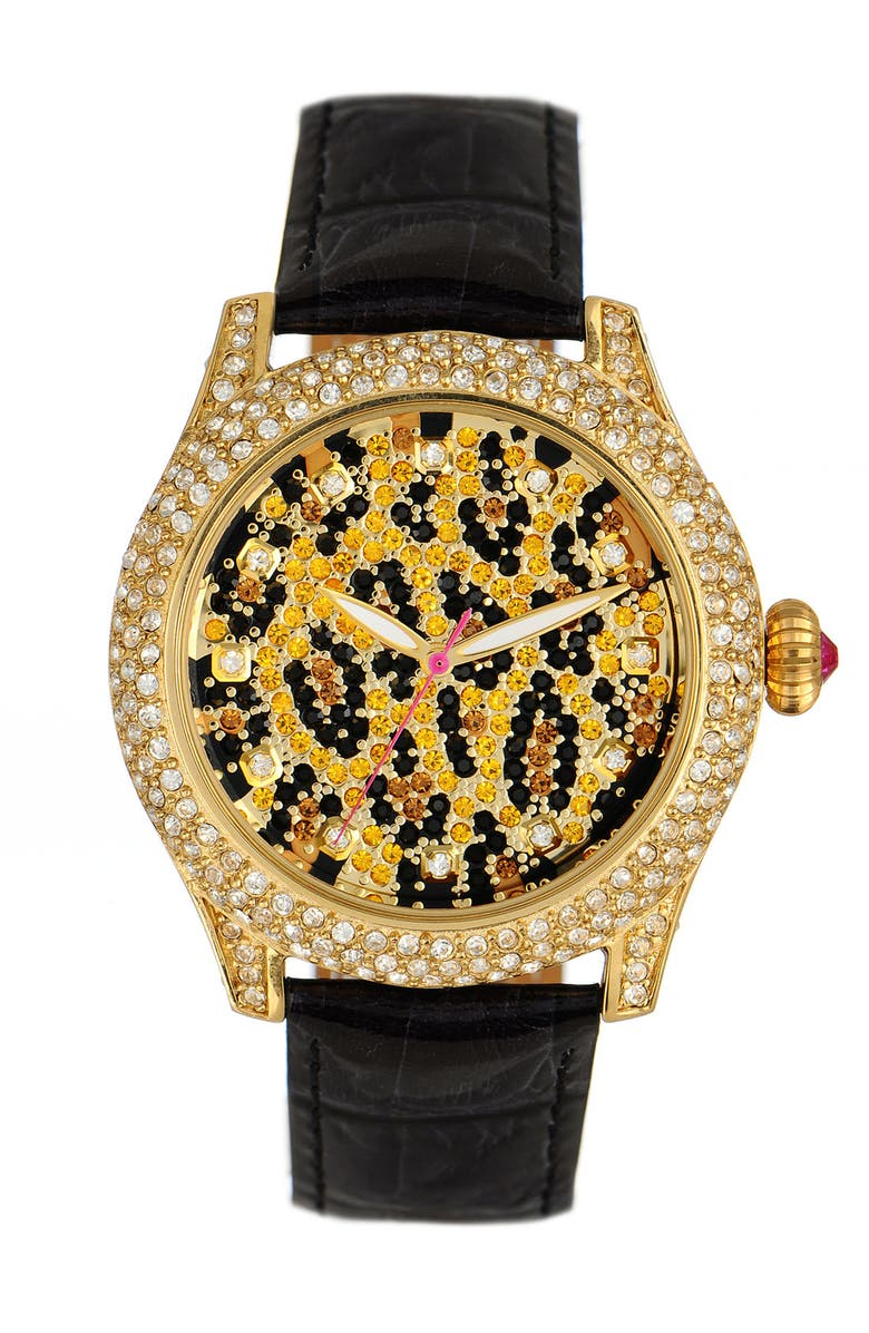 BETSEY JOHNSON 'Bling Bling Time' Leopard Dial Watch, Main, color, GOLD/ BLACK