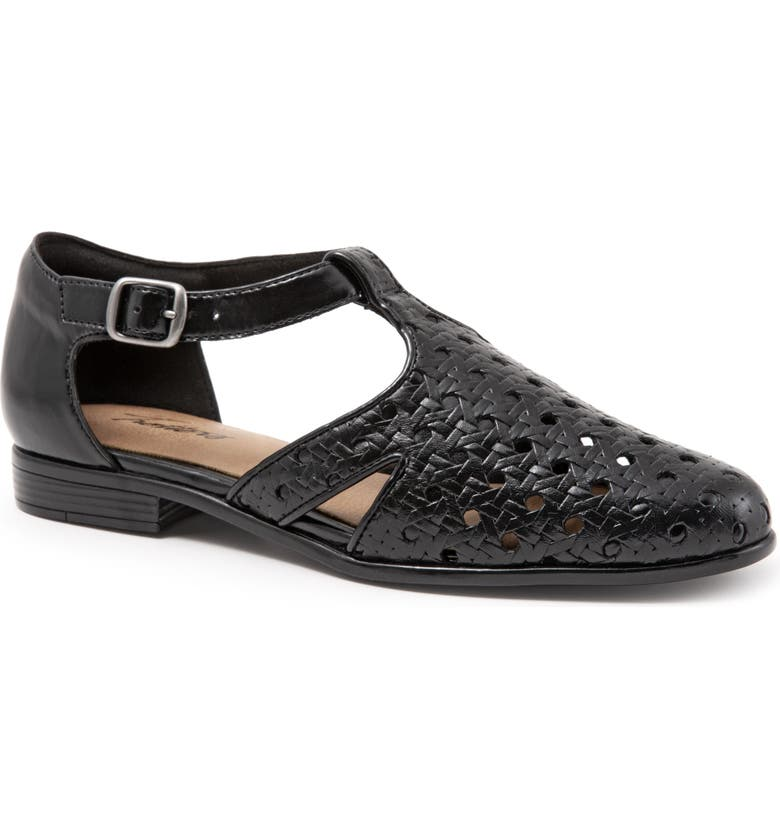 TROTTERS Leatha Open Weave Skimmer Flat, Main, color, BLACK LEATHER