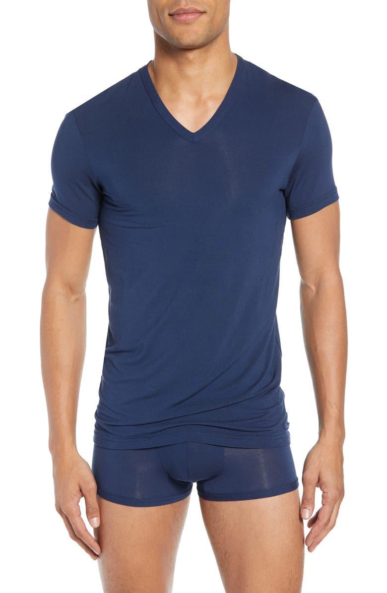 CALVIN KLEIN Ultrasoft Stretch Modal V-Neck T-Shirt, Main, color, BLUE SHADOW