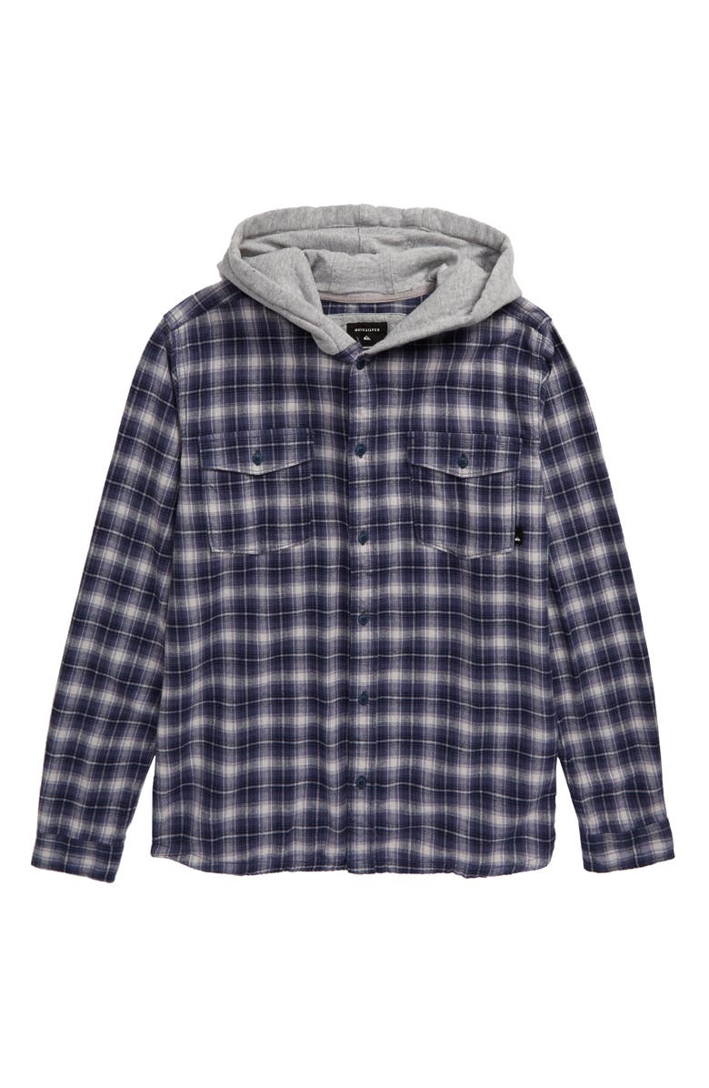 QUIKSILVER Plaid Flannel Hoodie, Main, color, NIGHTSHADOW