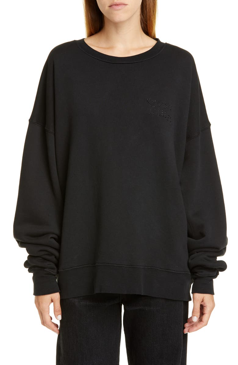 SIMON MILLER Rista Logo Embroidered Sweatshirt, Main, color, BLACK