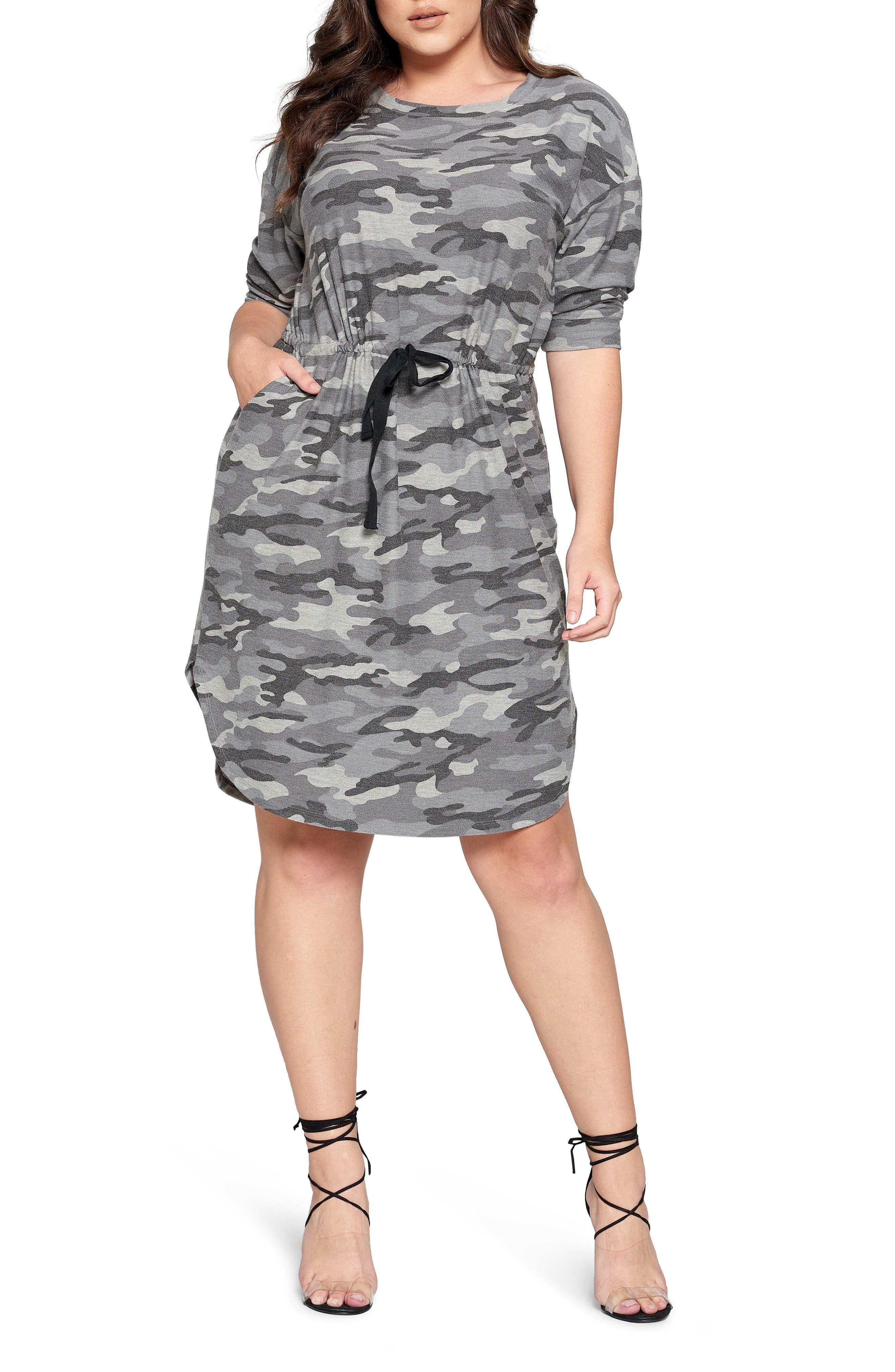 Camo Print Drawstring Waist Drop Shoulder Cotton Knit Dress