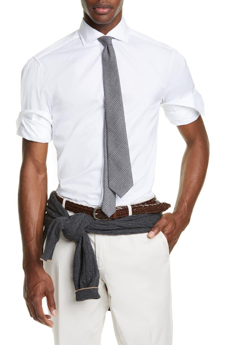 BRUNELLO CUCINELLI Slim Fit Solid Button-Up Sport Shirt, Main, color, WHITE
