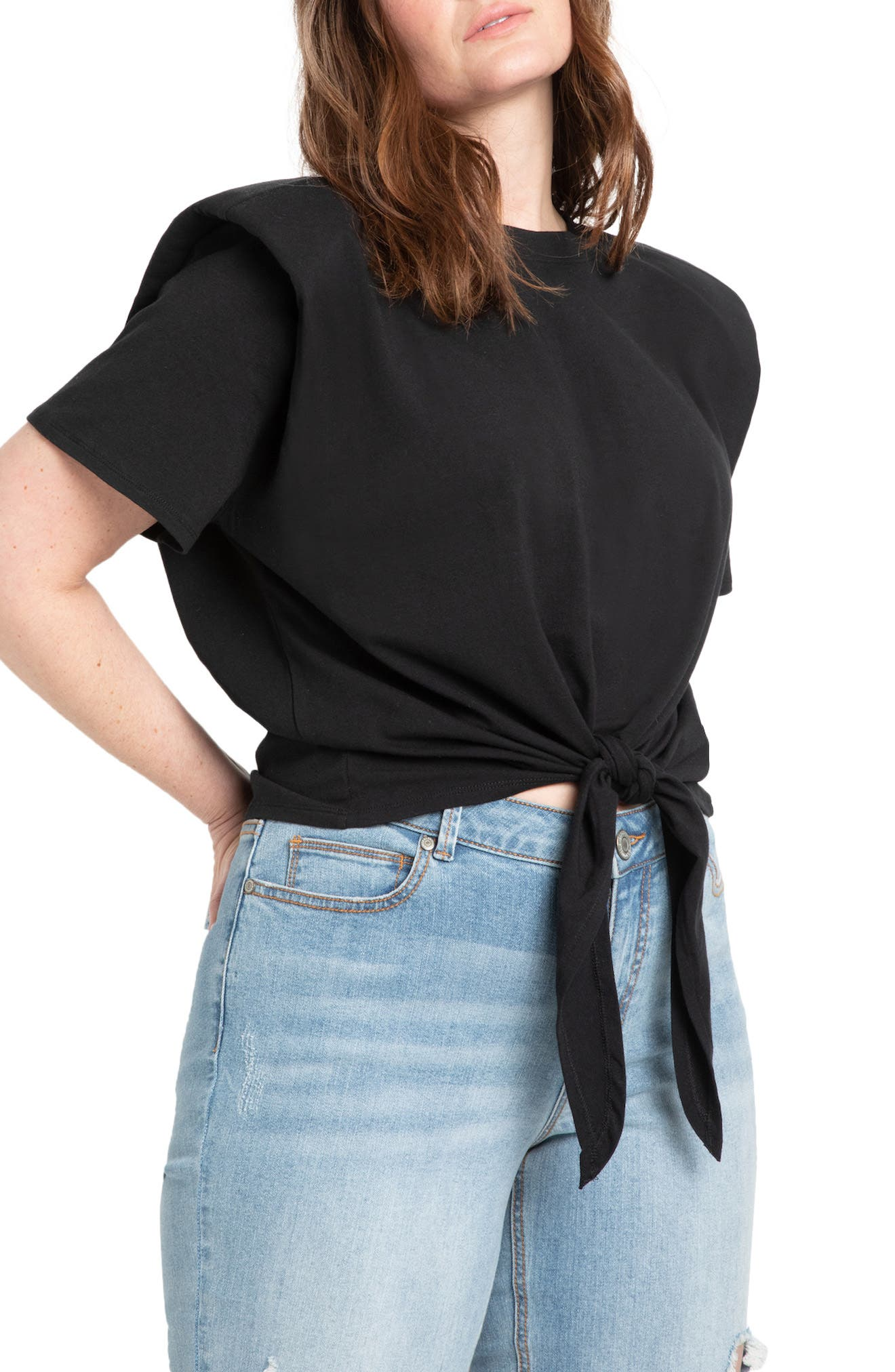 Strong Shoulder Tie Front Stretch Cotton Top