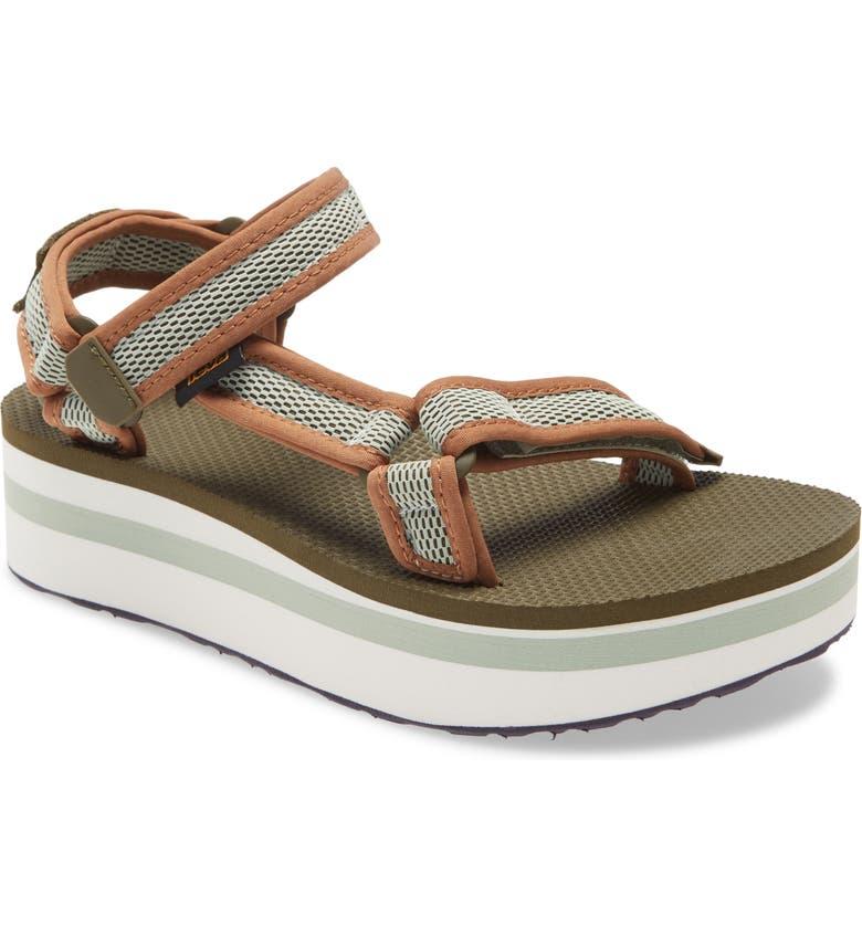 TEVA Flatform Universal Sandal, Main, color, DARK OLIVE/ SEA FOAM FABRIC