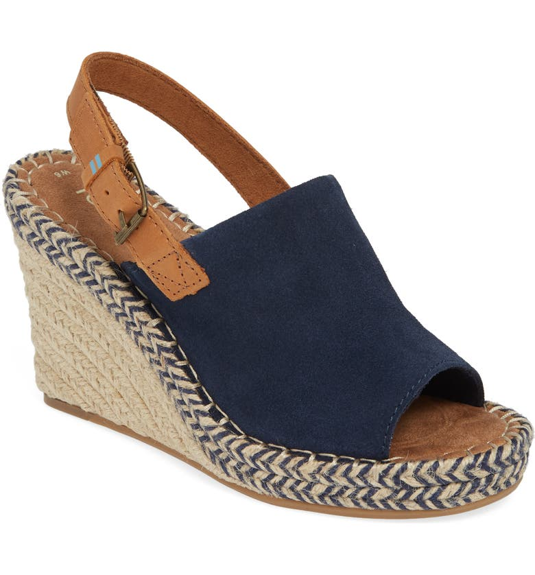 TOMS Monica Slingback Wedge, Main, color, NAVY SUEDE