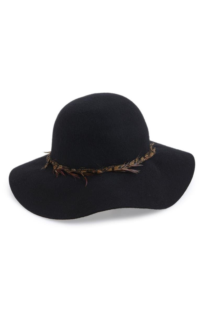 HINGE Feather Trim Floppy Hat, Main, color, 001