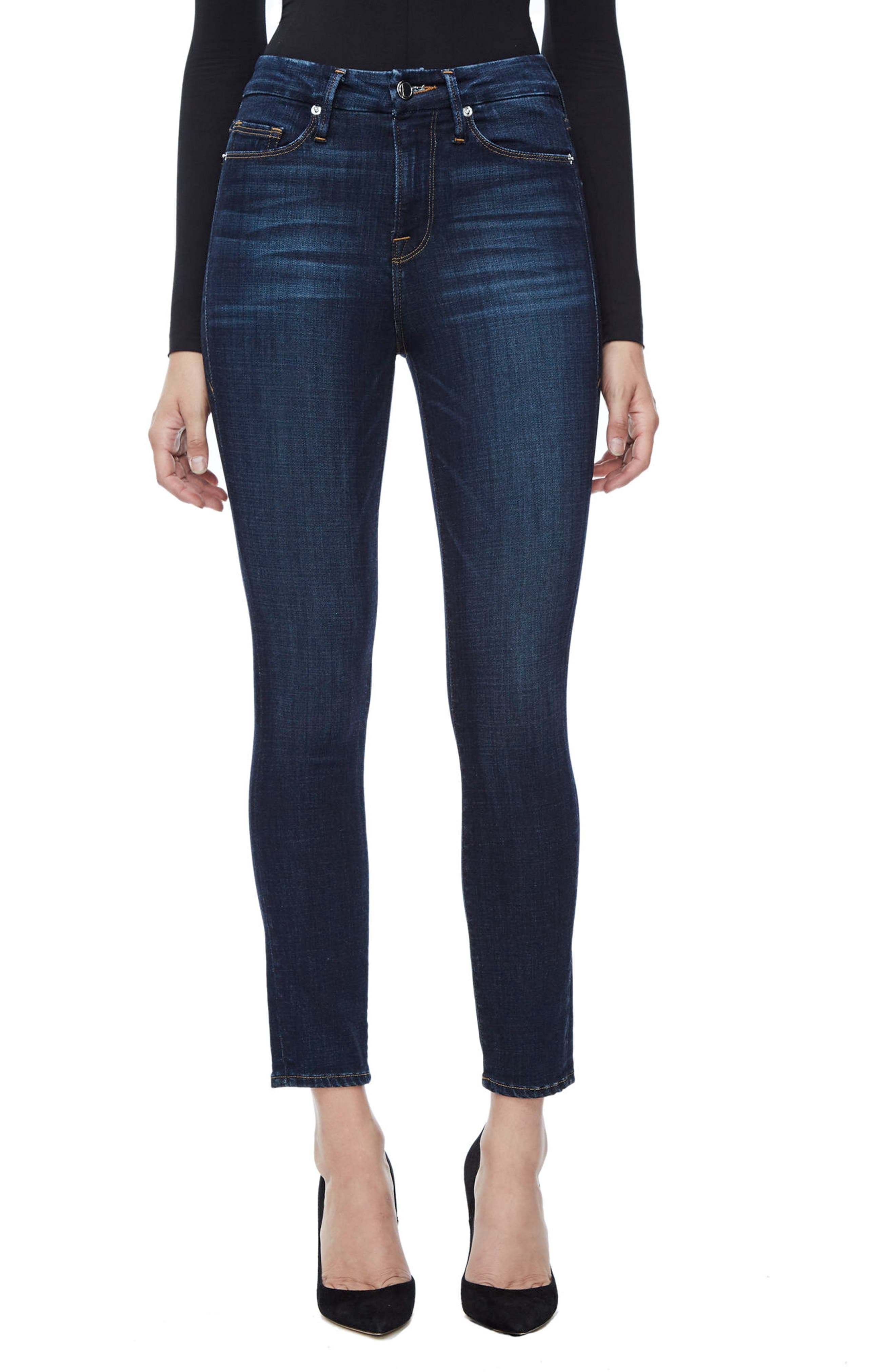 Good American Good Legs High Waist Ankle Skinny Jeans (Blue 089) (Regular & Plus Size)