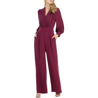 Gal Meets Glam Collection Jessamyn Button Wide Leg Jumpsuit, Pink