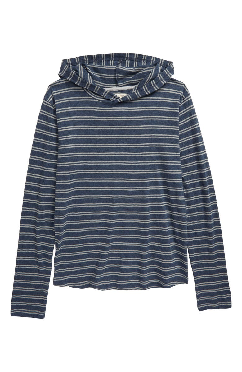 TUCKER + TATE Stripe Hooded Pullover, Main, color, NAVY DENIM HEATHER STRIPE