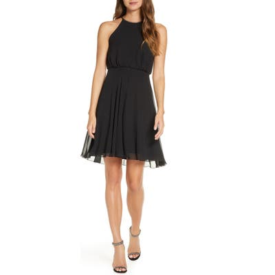 Sho Embellished Blouson Cocktail Dress, Black