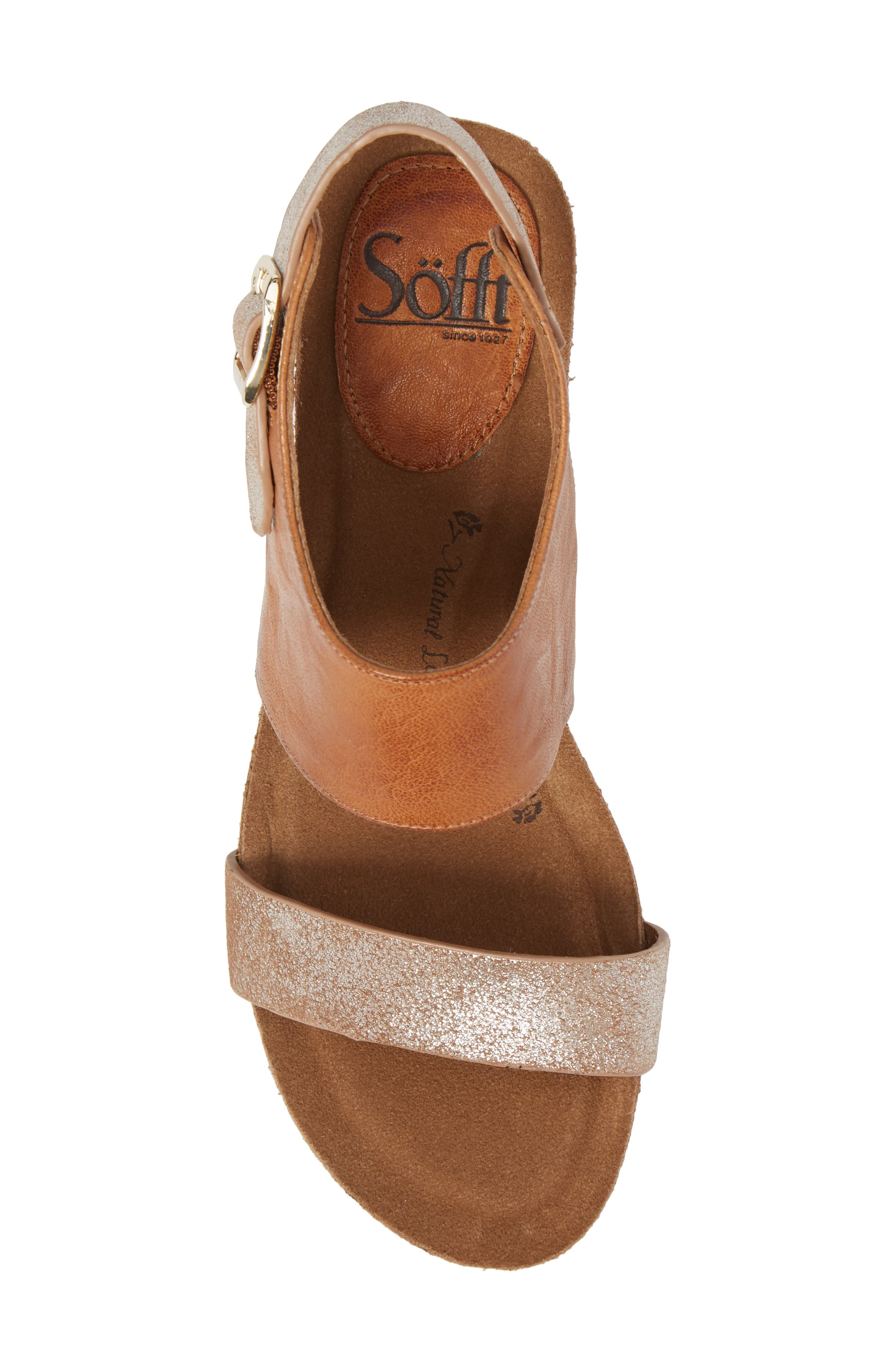 ,                             'Vanita' Leather Sandal,                             Alternate thumbnail 5, color,                             LUGGAGE/ SILVER LEATHER