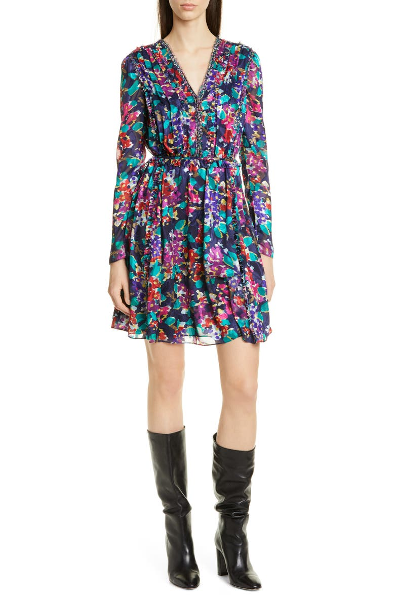 JASON WU Motion Floral Long Sleeve Dress, Main, color, TWILIGHT MULTI
