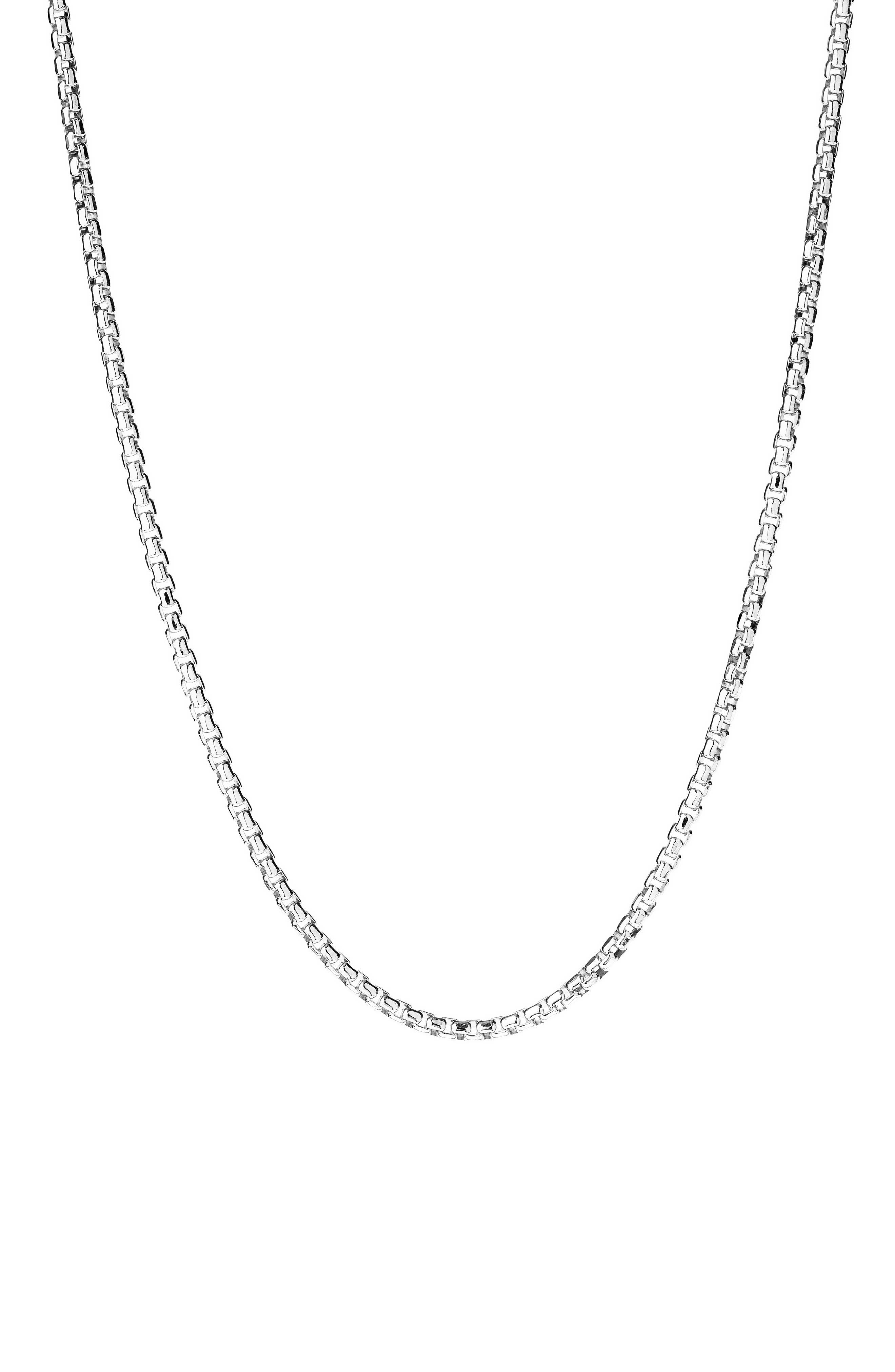 Men's Silver Round Box Chain Bracelet